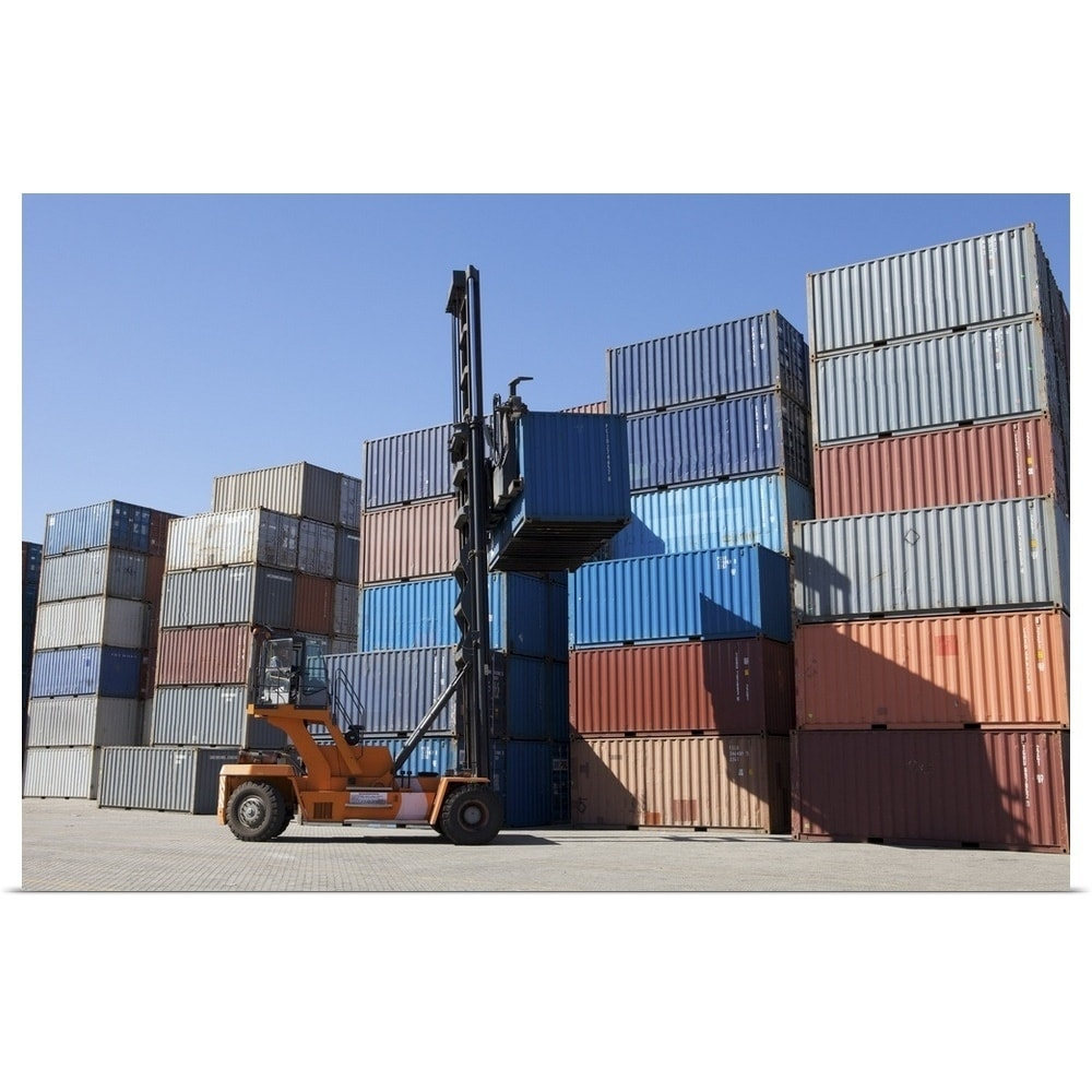 shipping containers being stacked up poster print