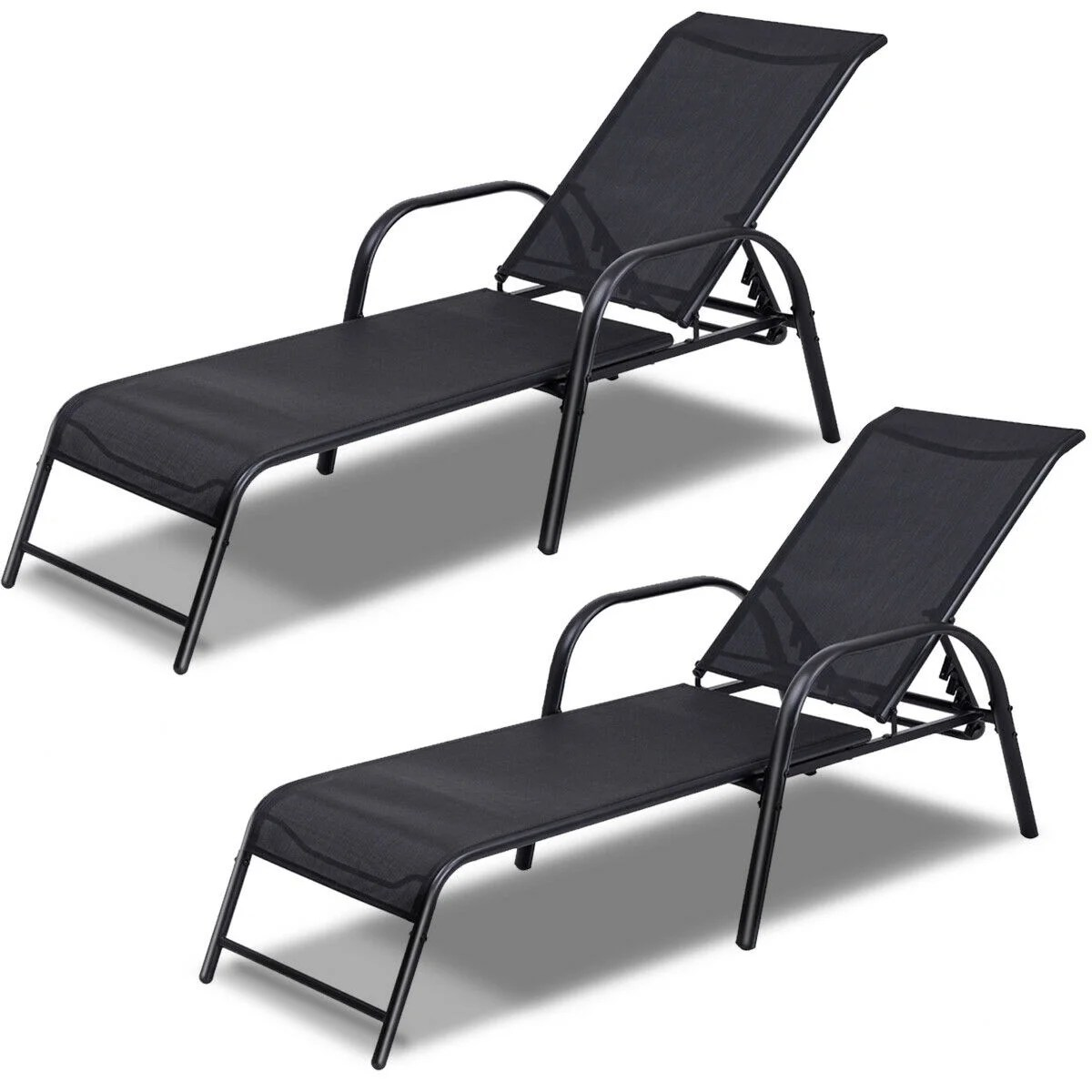 costway set of 2 patio lounge chairs sling chaise lounges recliner