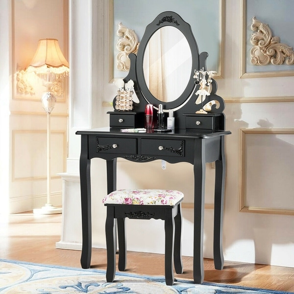 Shop Gymax Vanity Makeup Dressing Table Stool Set W Mirror 4 Drawers On Sale Overstock 22590302