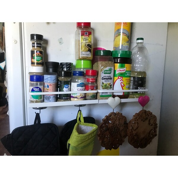 white plate magnetic spice rack by