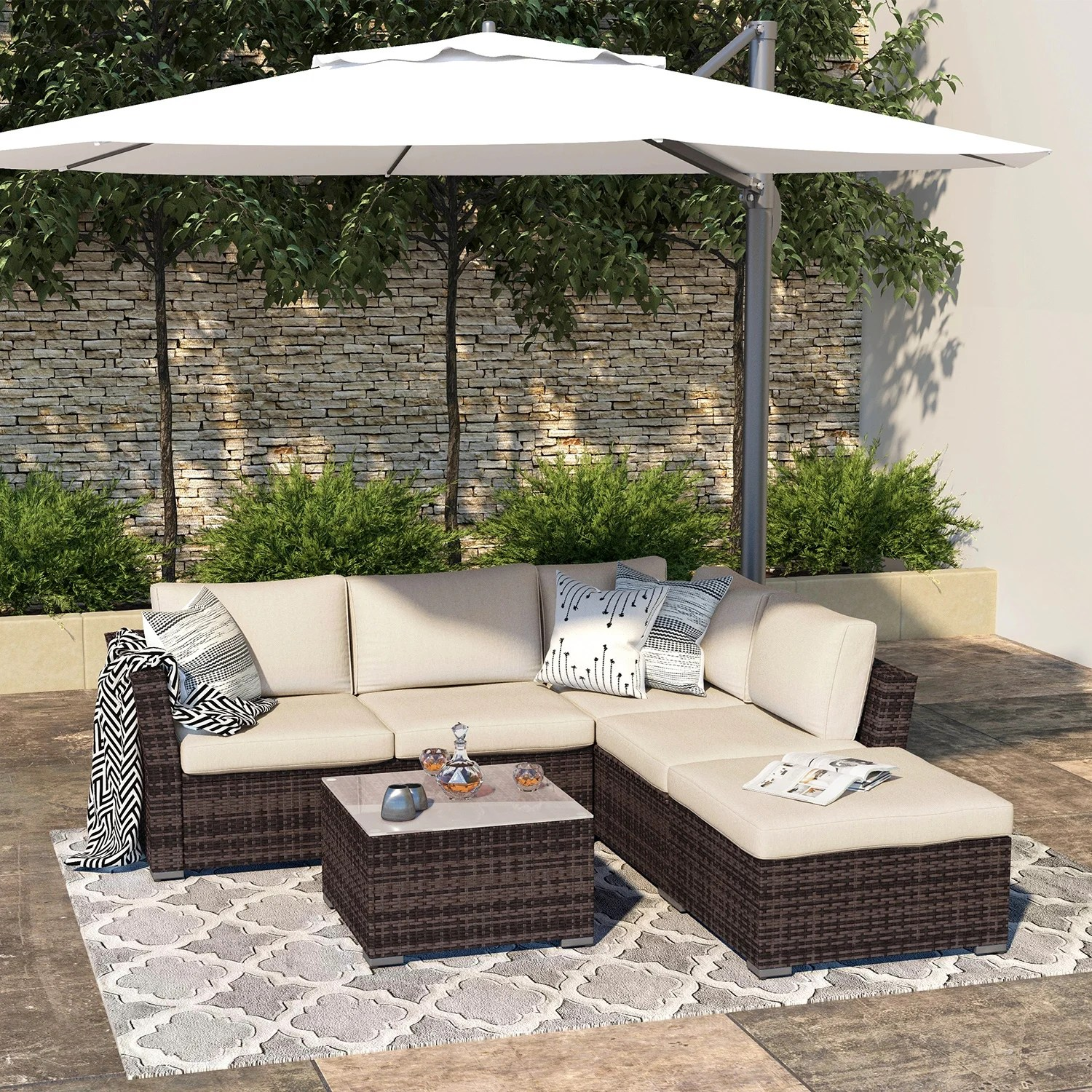 outdoor 4 piece all weather wicker patio sectional sofa set