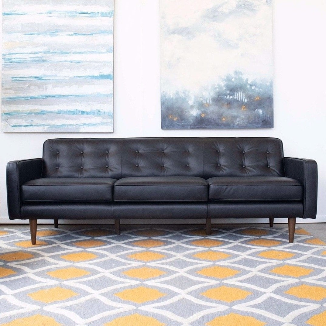 Mid Century Modern Benson Black Genuine Leather Sofa 30 X 88 X 34 30 X 88 X 34 Overstock 31942171