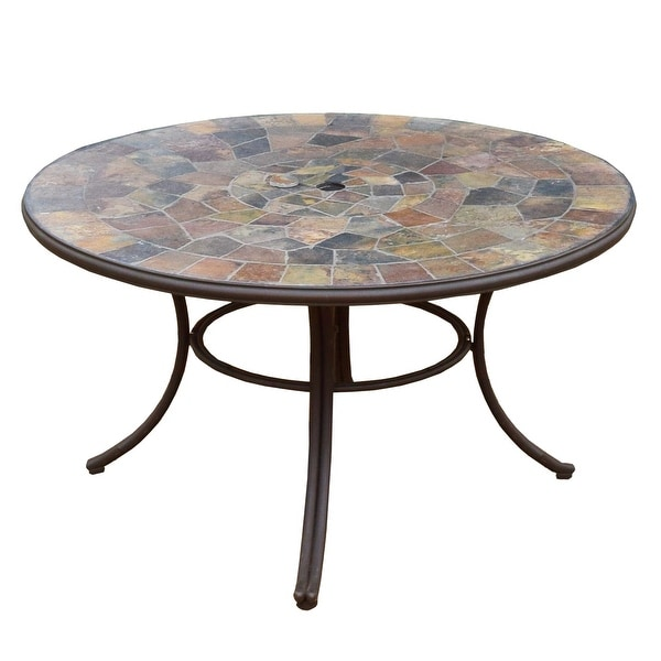 dark bronze stone slate round 42 inch outdoor deep seating patio dining table
