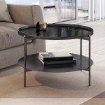 Modrest Randal Modern Round Black Metal Coffee Table Overstock 28425314