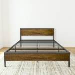 Full Queen 14 High Metal And Wood Platform Bed Bed Frame With Wood Headboard Metal Slats Box Spring Optional Black Overstock 31144373