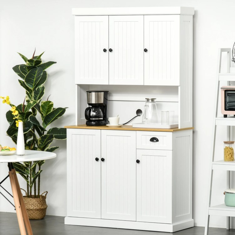 Homcom 71 Wood Kitchen Pantry Storage Cabinet Microwave Oven Stand With Storage White Oak Grain Overstock 31486110