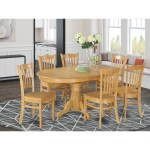 7 Piece Formal Oval Dinette Table With Leaf And 6 Dining Chairs Oak Overstock 10296393