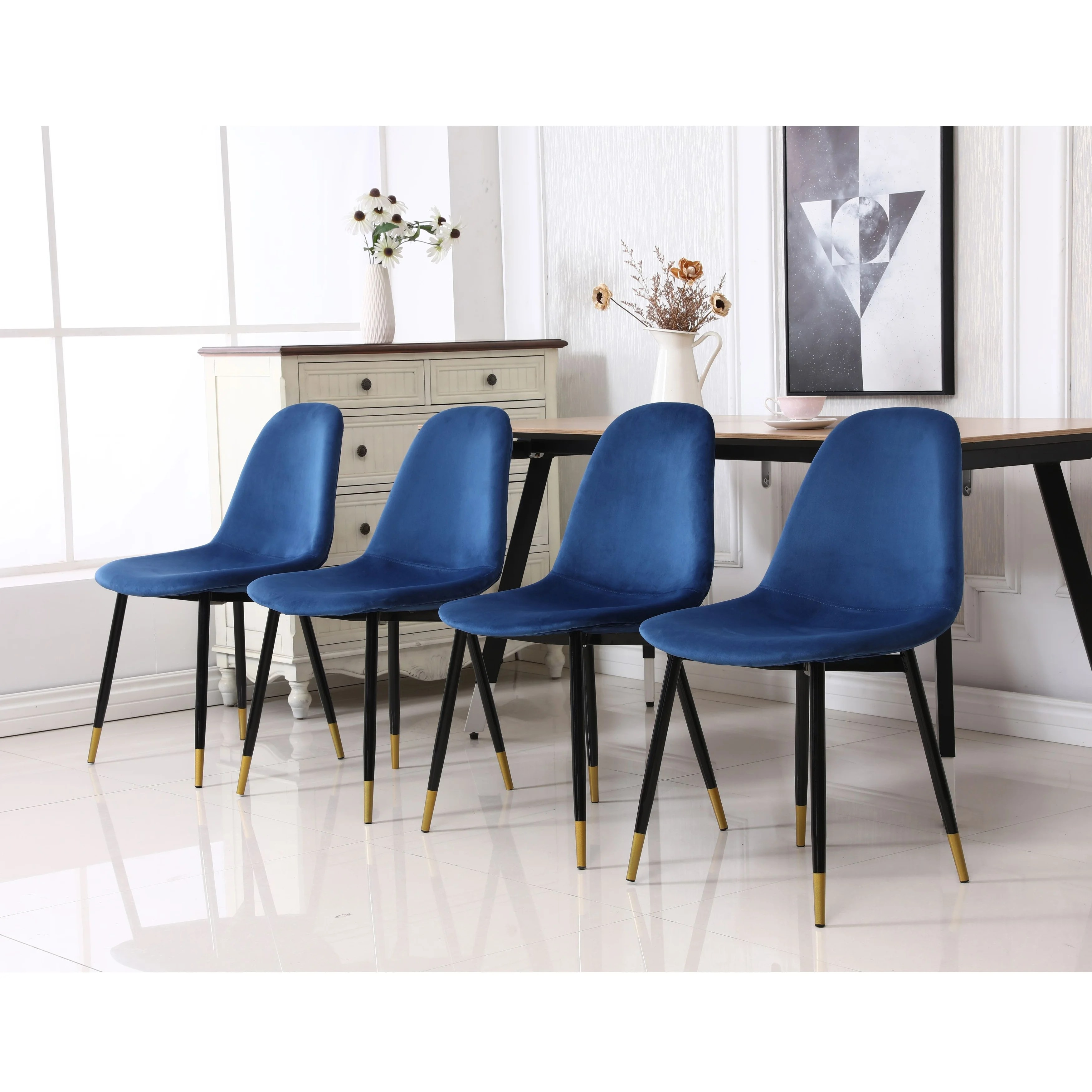 Lassan Contemporary Fabric Upholstered Dining Chairs Set Of 4 On Sale Overstock 31440720
