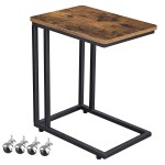 Modern Industrial Side Table Nightstand Tv Tray On Wheels Black 19 7 L X 13 4 W X 24 4 H Overstock 30703978