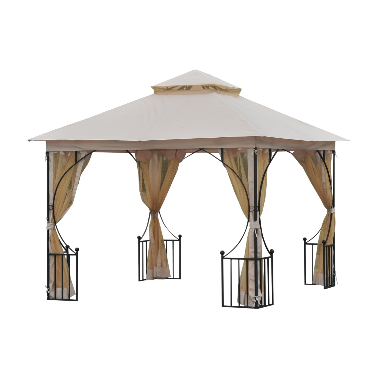 outsunny 10 x 10 steel outdoor garden gazebo canopy with mesh netting walls a roof resistant to uv rays