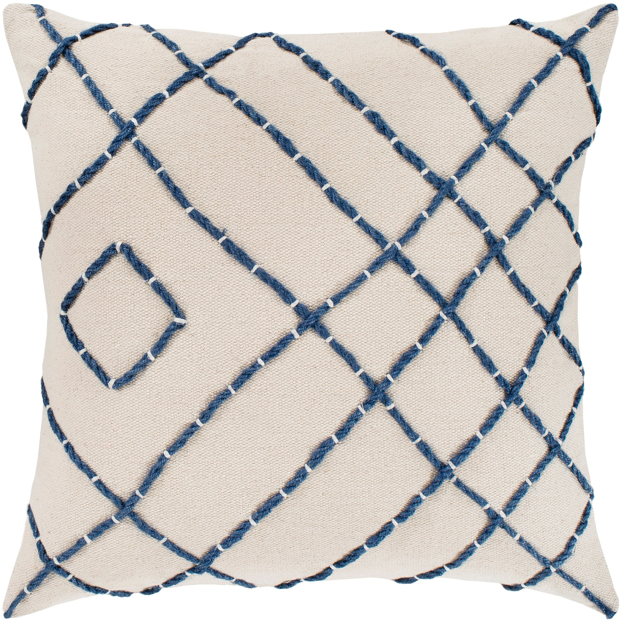 kelby cream navy hand embroidered throw pillow cover 20 x 20