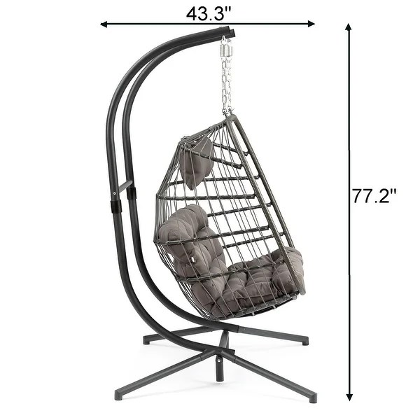 Shop Outdoor Wicker Hanging Egg Chair With Stand Swing Lounge Chair W Cushion For 2 Person X Large 63 W X 78 L X 43 3 D Overstock 31946111
