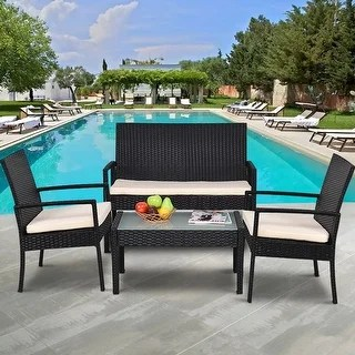 Shop Costway 4 PCS Outdoor Patio Furniture Set Table Chair Sofa     Costway 4 PCS Outdoor Patio Furniture Set Table Chair Sofa Cushioned Seat  Garden