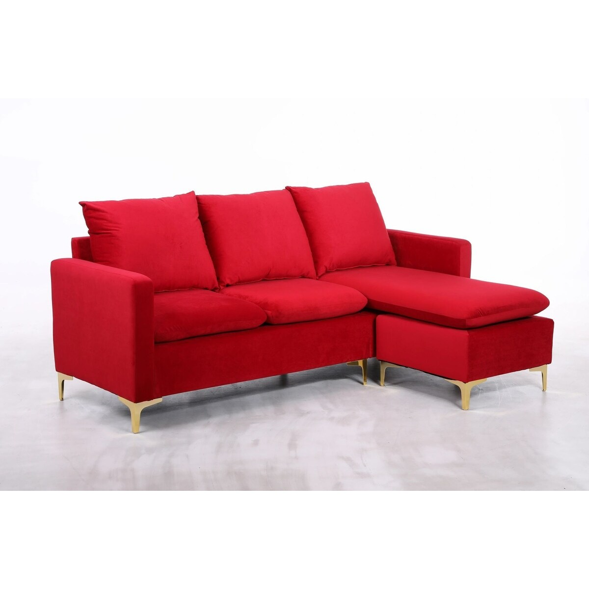 minori modular velvet sectional sofa with pillow back and movable chaise