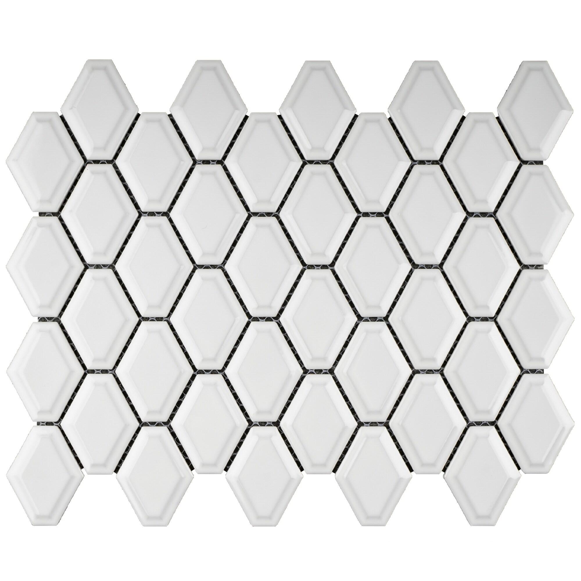 tilegen diamond 3 x 3 porcelain mosaic tile in white floor and wall tile 11 sheets 9 35sqft