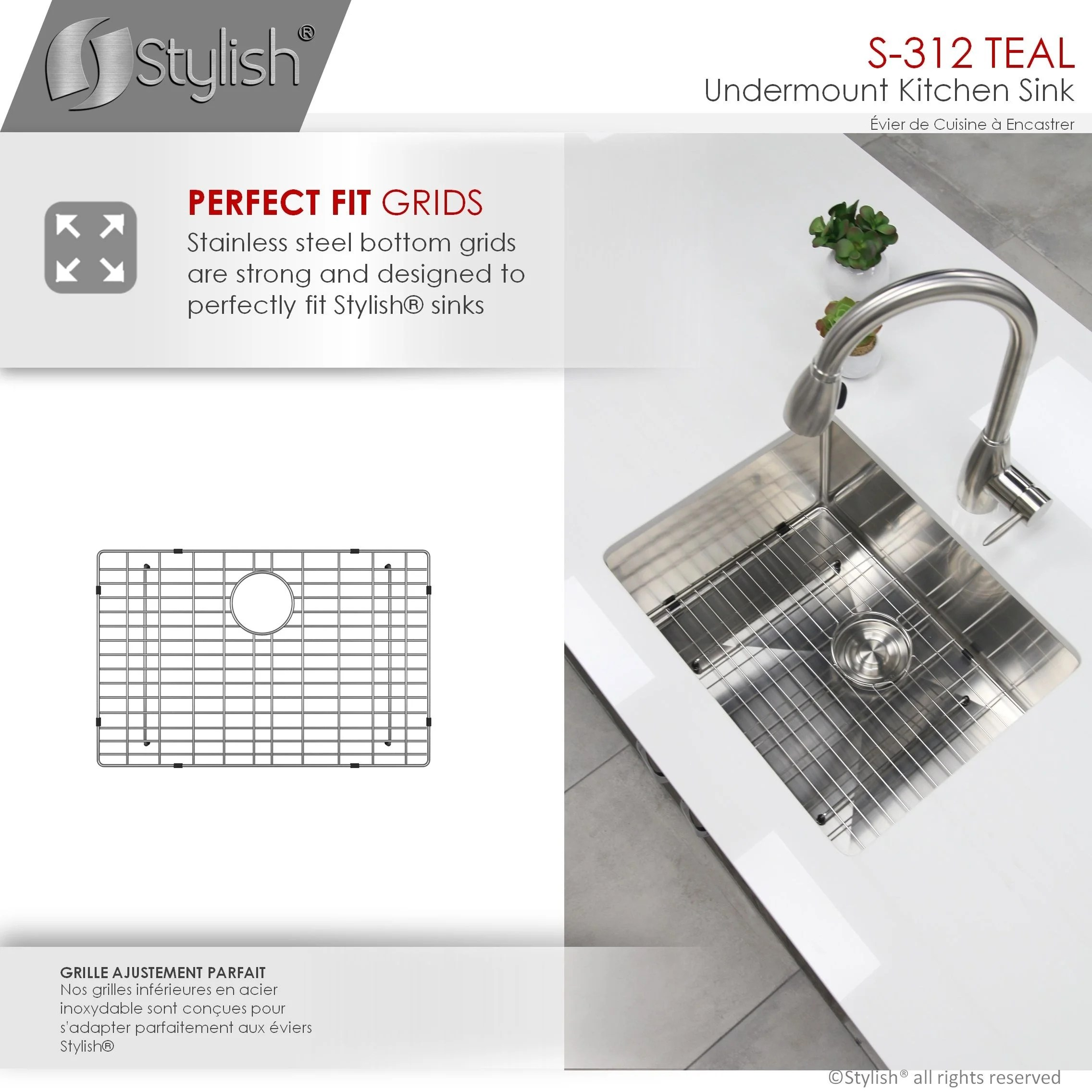 25 l x 18 w stainless steel single basin undermount kitchen sink with grid and strainer