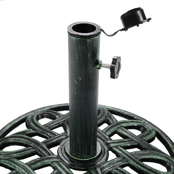 https www overstock com home garden sunnydaze heavy duty round cast iron outdoor patio umbrella base stand 17 inch 28727990 product html