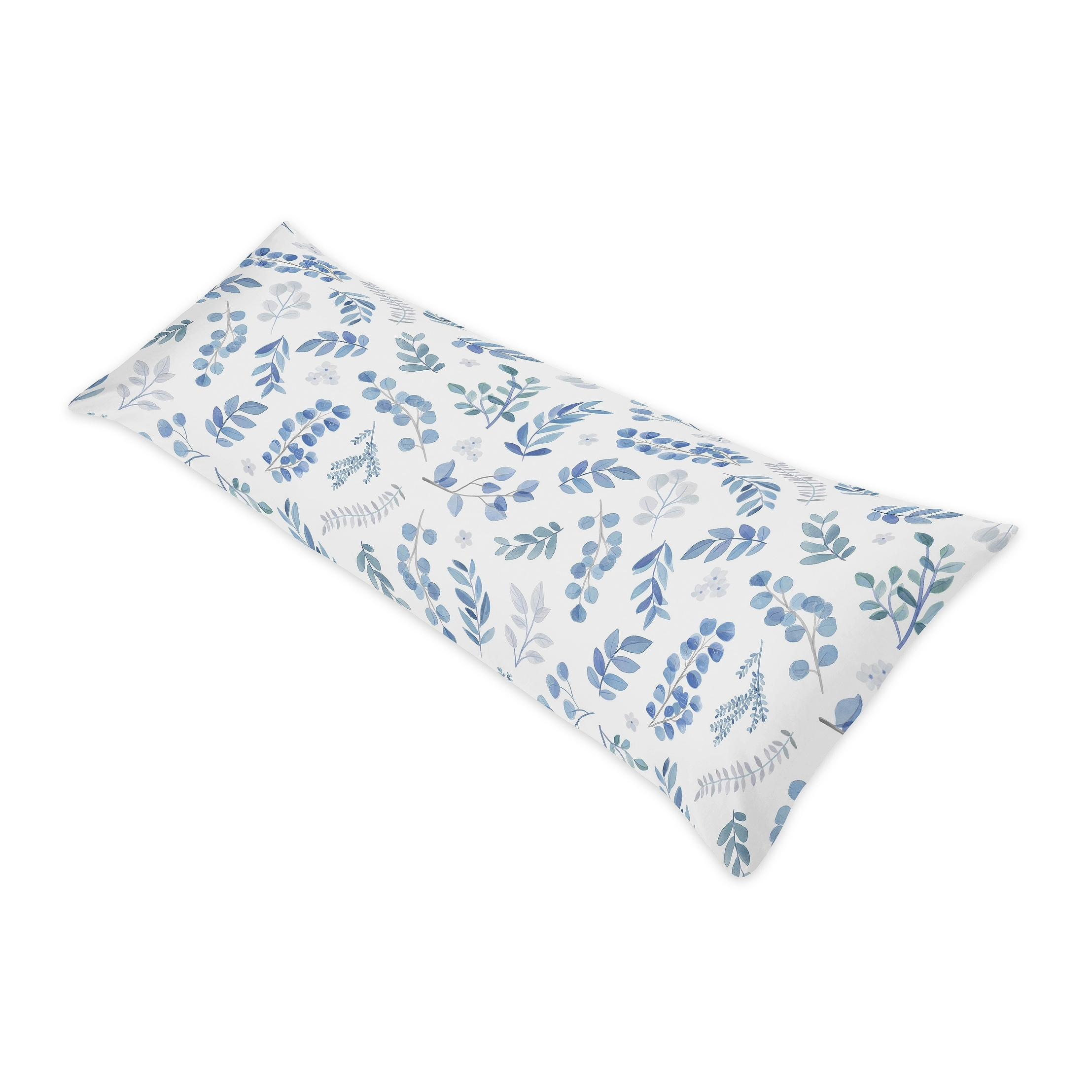 floral leaf body pillow case pillow not included blue grey white boho watercolor botanical flower woodland tropical garden