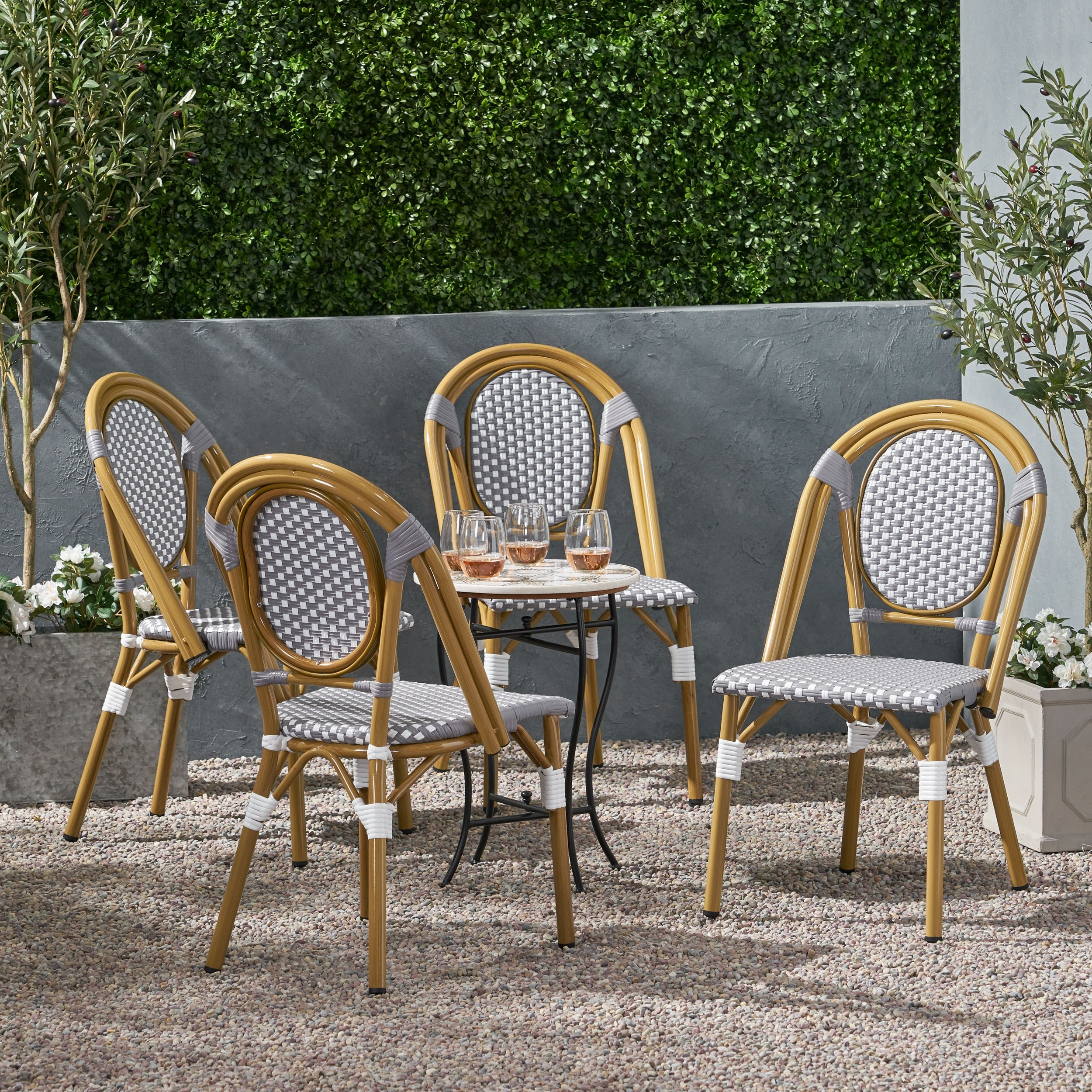 remi outdoor french bistro chairs set of 4 by christopher knight home