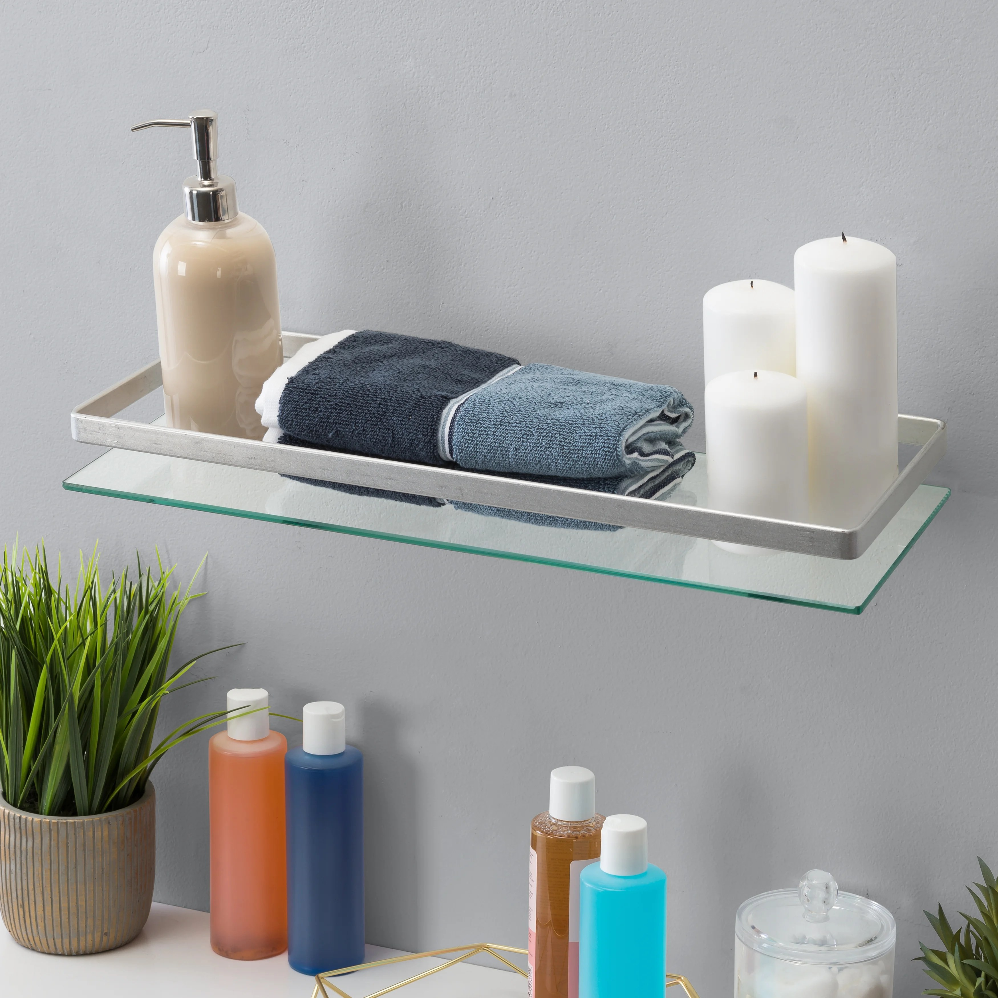 floating wall mount tempered glass bathroom shelf with brushed chrome rail