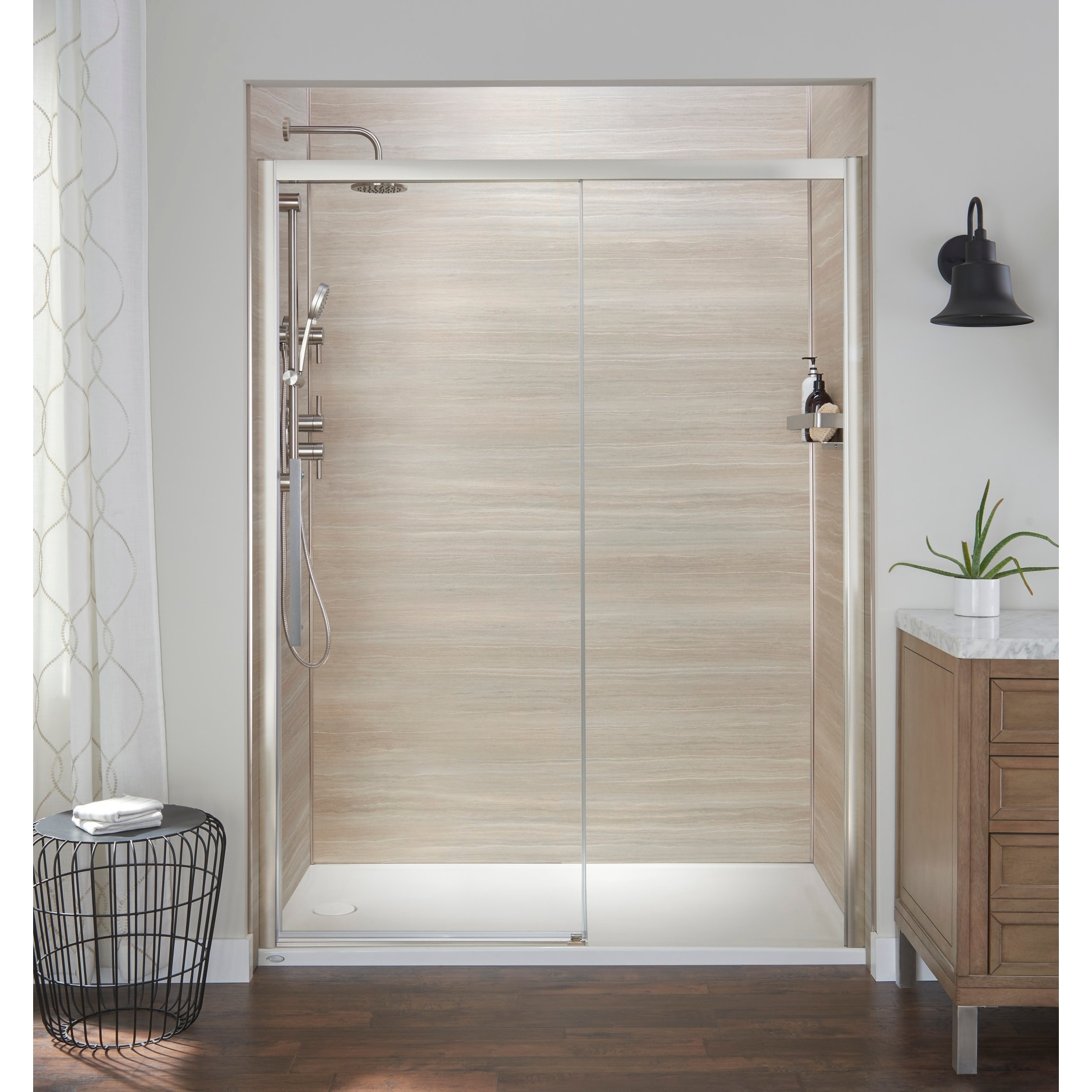 Jacuzzi Sd48 76 High X 48 Wide Sliding Semi Frameless Shower Door With Clear Glass
