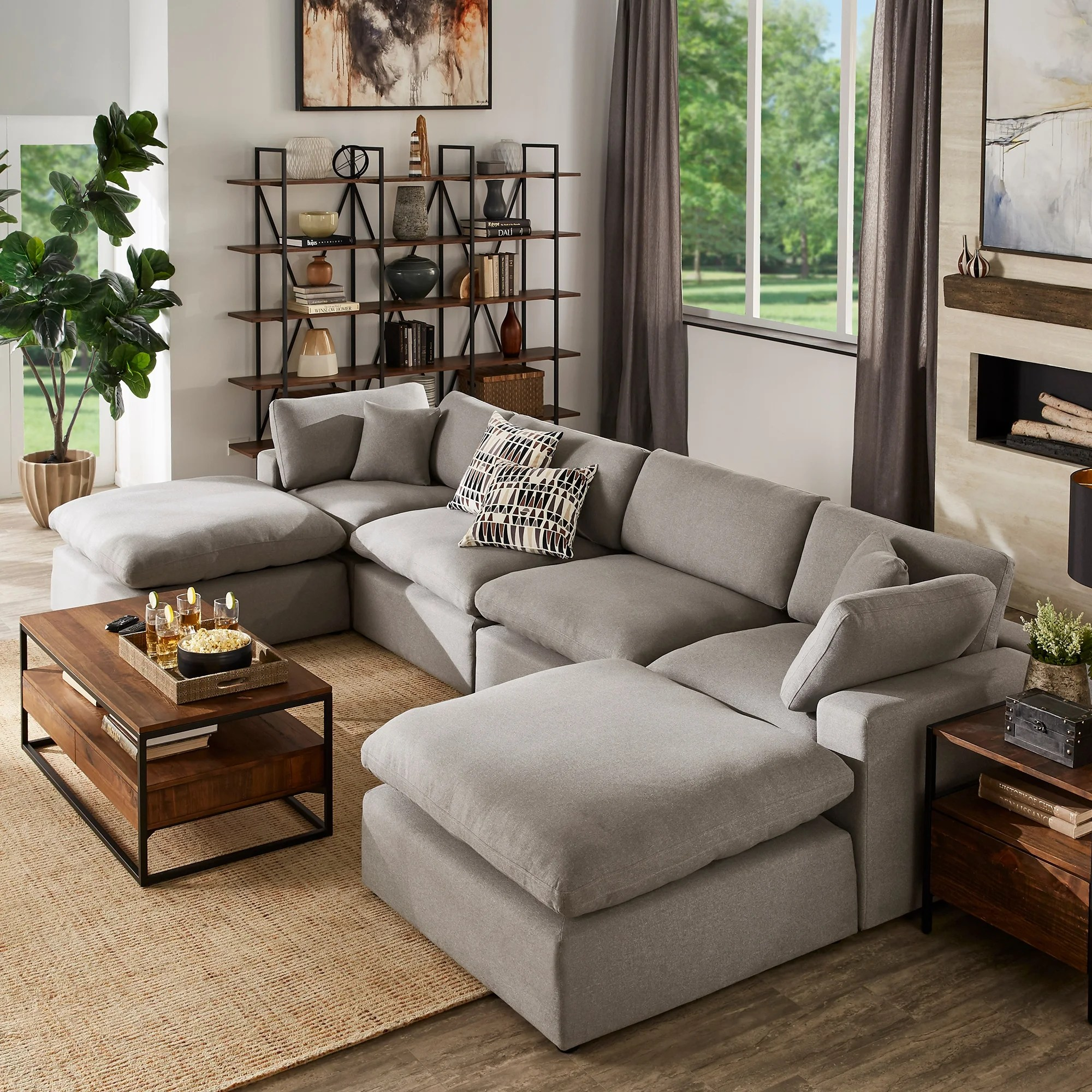 anka grey linen down filled cushioned u shaped sectional sofa with two ottomans by inspire q modern