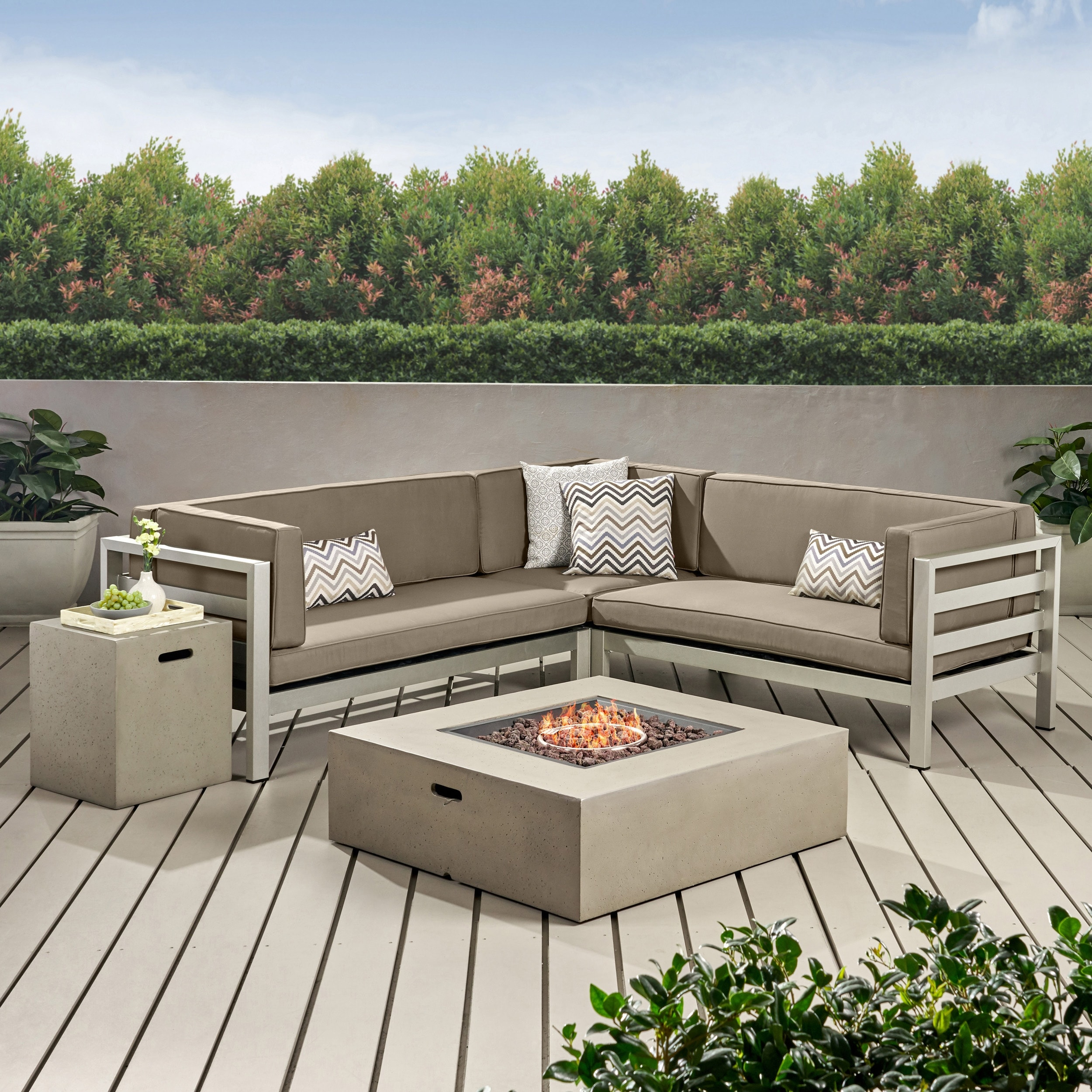 bel aire outdoor modern 5 seater v shaped sectional sofa set with fire pit and tank holder by christopher knight home