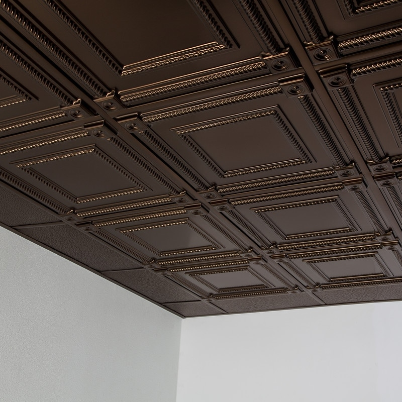 fasade coffer decorative vinyl 2ft x 2ft lay in ceiling tile in oil rubbed bronze 5 pack