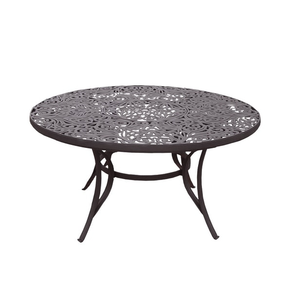 outdoor round 60 in cast aluminum coffee dining table with umbrella hole