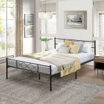Contemporary Metal Platform Bed Black Metal Bed Frame By Vecelo Twin Full Queen Size Overstock 28380612 Full