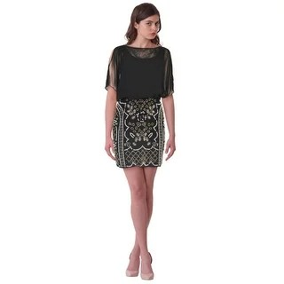 Xscape Dresses   Find Great Women s Clothing Deals Shopping at     Xscape Chiffon Top Beaded Blouson Split Sleeve Cocktail Dress Black   2