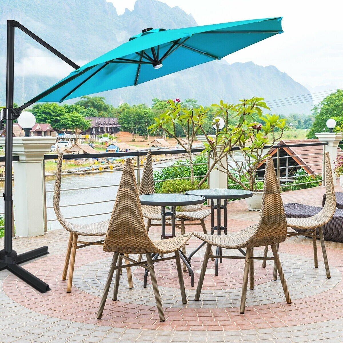 10 ft patio offset cantilever umbrella with solar lights turquoise turquoise 10 x 8 l x h