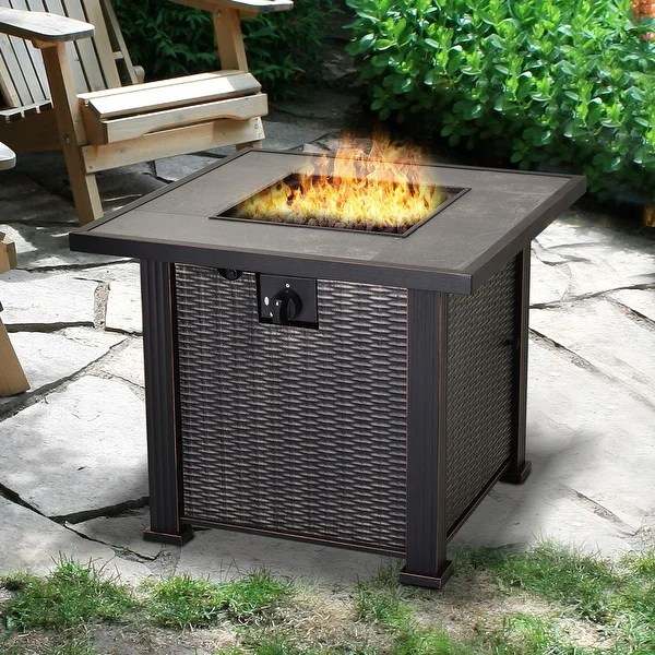 wicker outdoor gas fire pit table