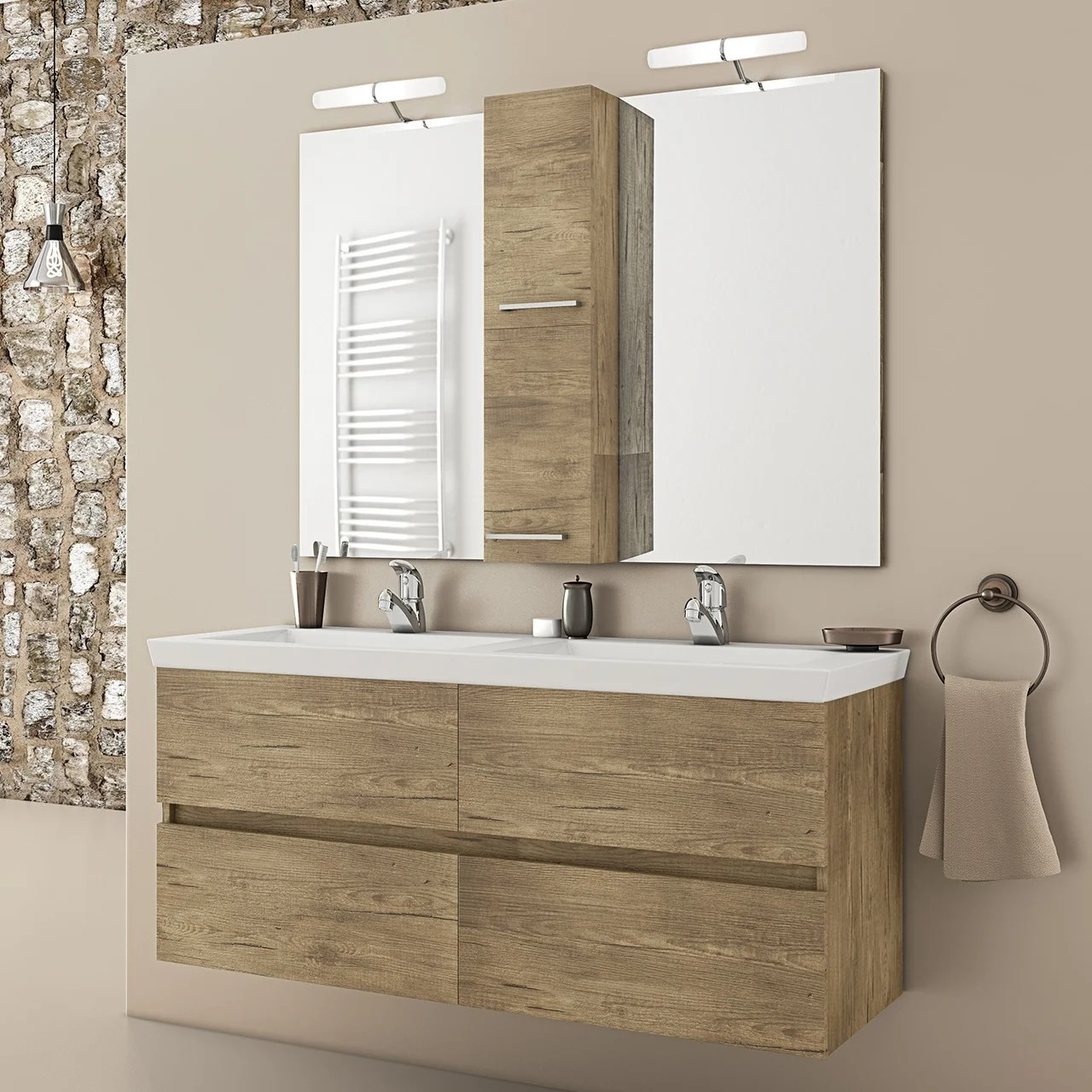 48 natural double floating vanity with his and her integrated porcelain sinks