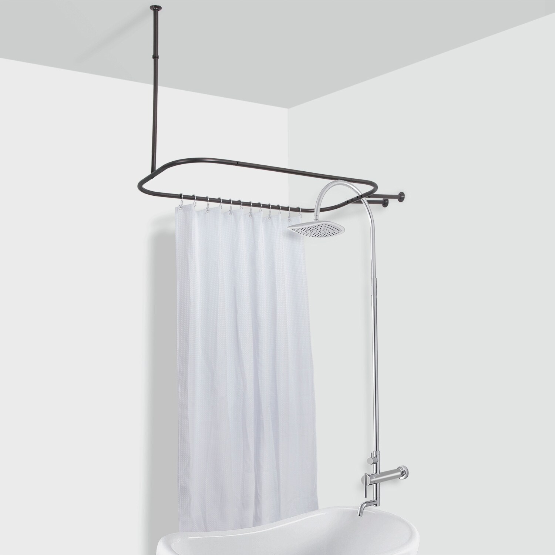 rustproof hoop shower rod for clawfoot tub