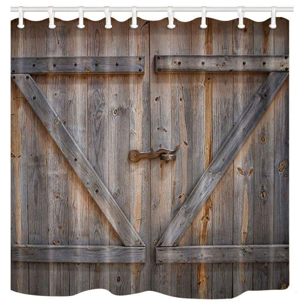 old wooden door barn shower curtain polyester fabric bath curtains set