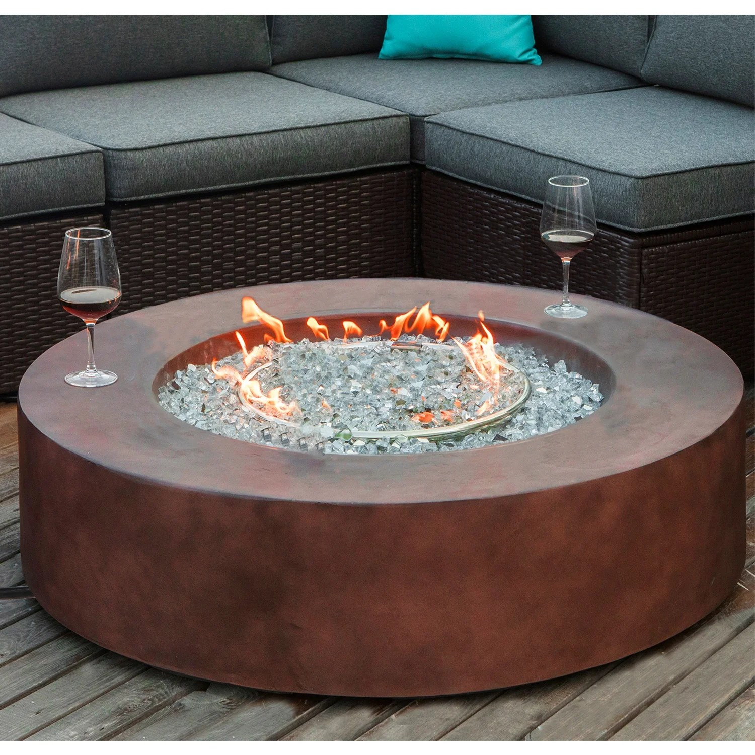 Cosiest Outdoor Propane Fire Pit Coffee Table With Round Base Overstock 31500538