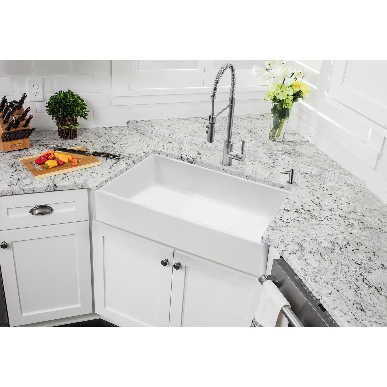 soleil white fireclay single bowl farmhouse apron front kitchen sink