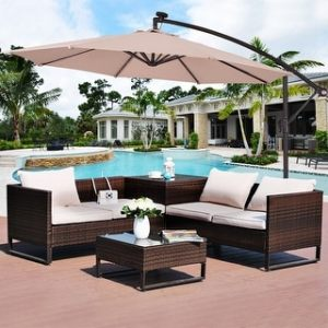 Patio Umbrellas   Shades   Shop our Best Garden   Patio Deals Online     Costway 10  Hanging Solar LED Umbrella Patio Sun Shade Offset Market W Base  Beige