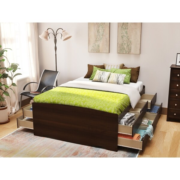 platform storage bed with 12 drawers