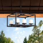 Sunjoy Geometric Outdoor Battery Powered Six Light Led Chandelier With Remote Control Overstock 30722023