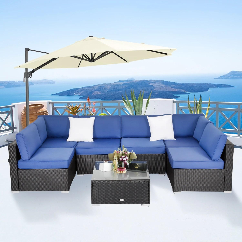 kinsunny 7 piece patio furniture set outdoor rattan wicker sectional sofa w cushions coffee table