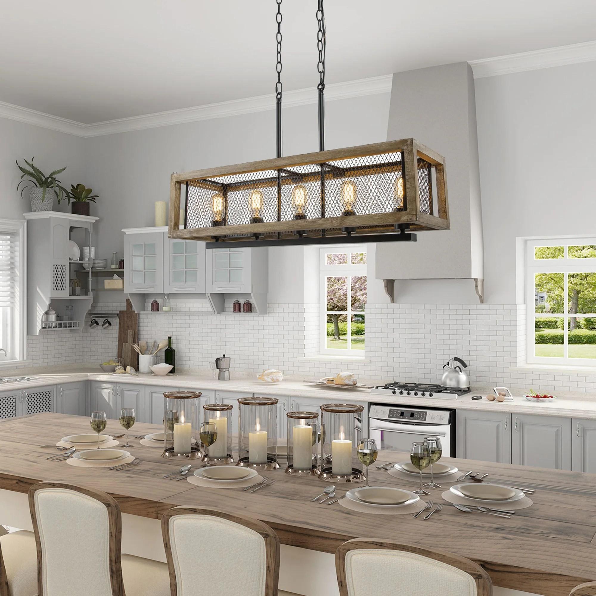 farmhouse linear wood chandelier island pendant lighting fixture