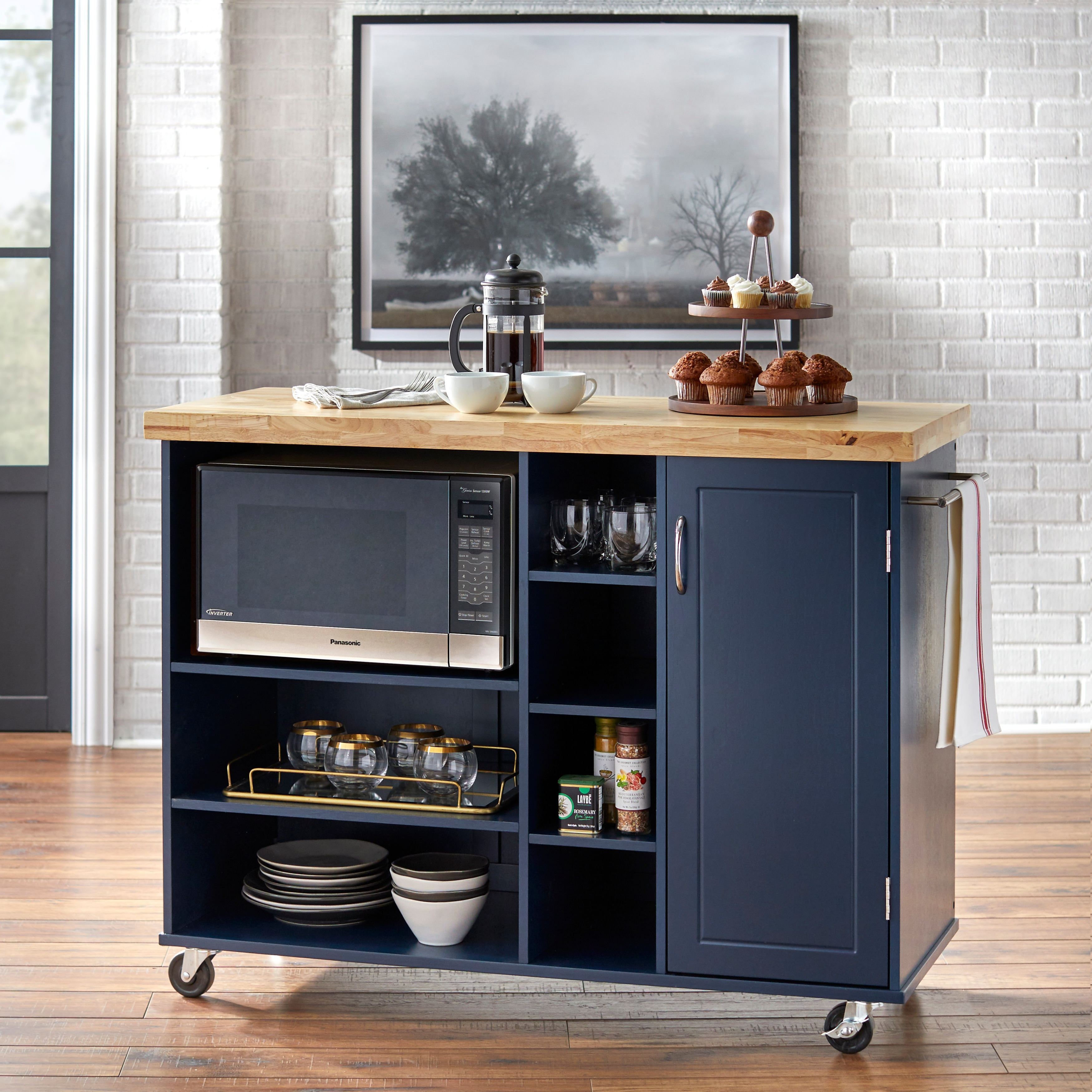 simple living rolling galvin microwave storage cart