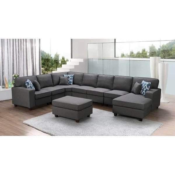 irma dark grey linen 8 piece modular sectional sofa and ottoman