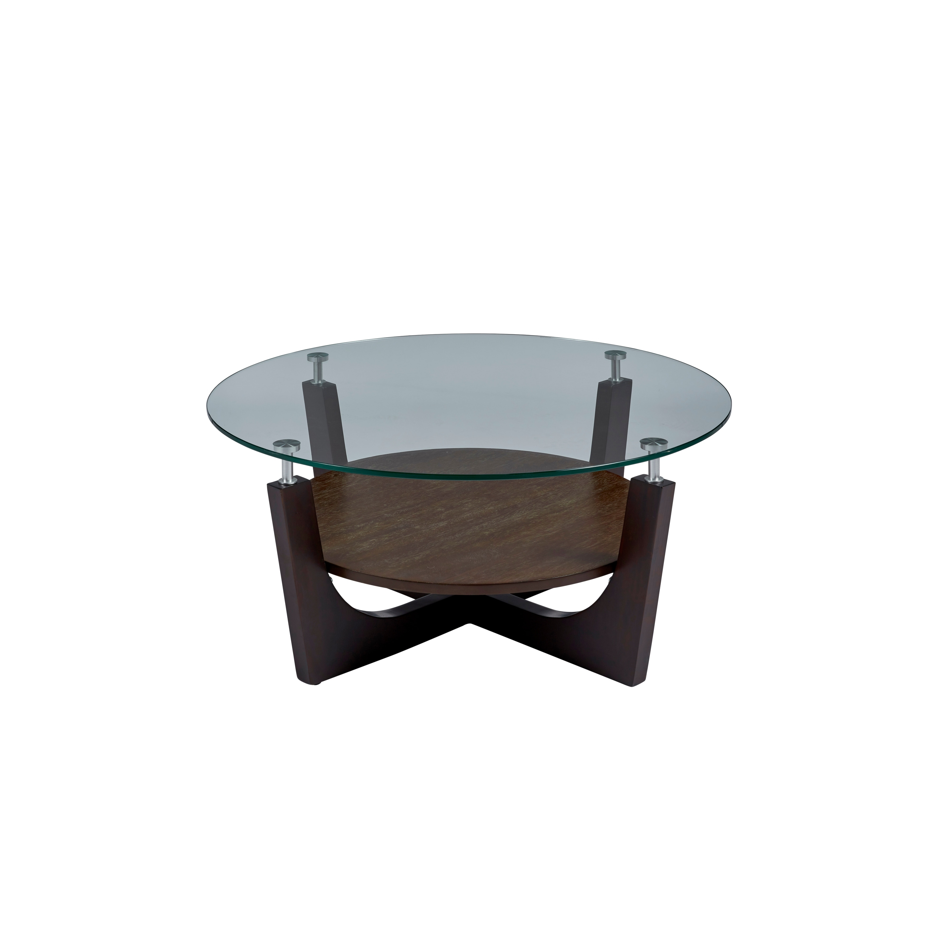 four points round glass top cocktail table 38x38x17 h