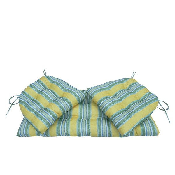 3 piece yellow and green striped tufted wicker furniture outdoor patio cushions