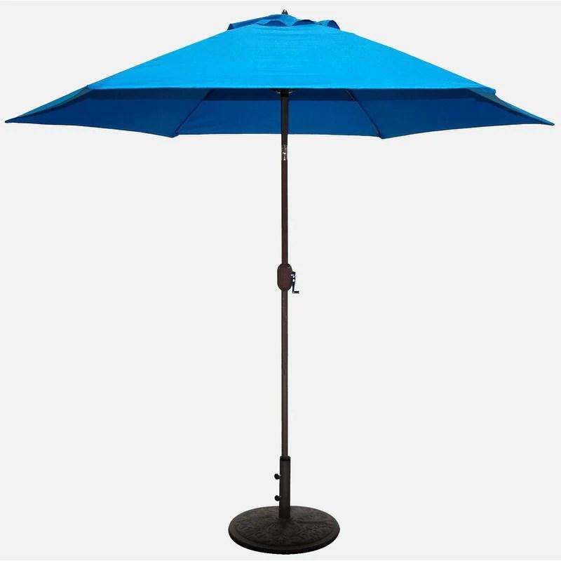 tropishade 9 ft aluminum bronze patio umbrella with blue cover