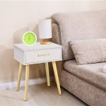Nightstand Modern Fashion 4 Thin Long Legs Space Station 1 Tier Cubic Night Stand Storage Table W 2 Drawer Paulownia Wood