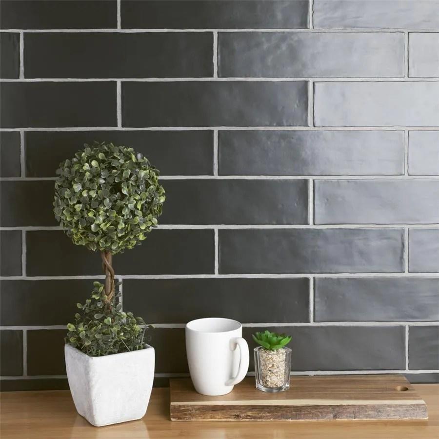 somertile 3x12 inch gloucester matte nero ceramic wall tile